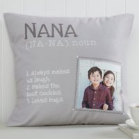 Definition of Grandma 18-Inch Square Photo Throw Pillow