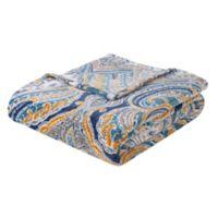 VCNY Giza Plush Velvet Throw Blanket in Teal