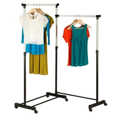 honeycando rotatable double garment rack in chromeblack