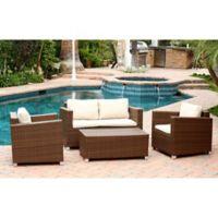 Abbyson Living® Hampton 4-Piece Outdoor Wicker Sofa Set in Brown