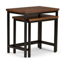 Simpli Home Skyler 2-Piece Nesting Side Table in Dark Cognac Brown