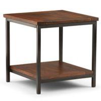 Simpli Home Skyler 22-Inch Square End Side Table in Dark Cognac Brown