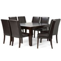 Simpli Home Sotherby 9-Piece Dining Set in Brown