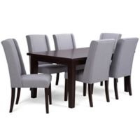 Simpli Home Sotherby 7-Piece Dining Set in Dove Grey