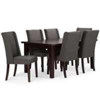 Simpli Home Sotherby 7-Piece Dining Set in Slate Grey