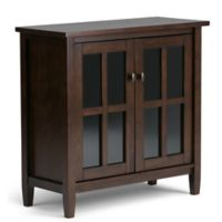 Simpli Home Warm Shaker 32-Inch Low Storage Cabinet in Tobacco Brown