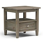 Simpli Home Warm Shaker 20-Inch End Table in Distressed Grey