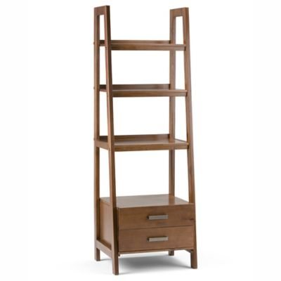 Simpli Home Sawhorse 72 Inch Ladder Shelf Bookcase With Storage Drawers In  Saddle Brown