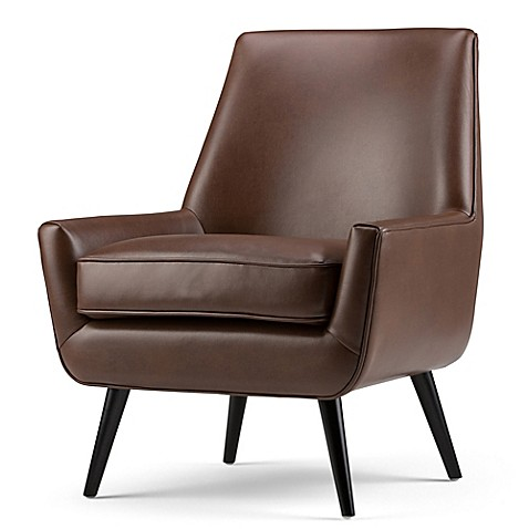 Simpli Home Warhol Mid Century Air Leather Arm Chair Bed