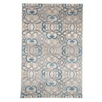 Nottingham Home Vintage Interlocking Brocade 5-Foot x 7-Foot 7-Inch Area Rug in Ivory/Blue