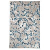 Nottingham Home Vintage Leaves 5-Foot x 7-Foot 7-Inch Area Rug in Ivory/Blue
