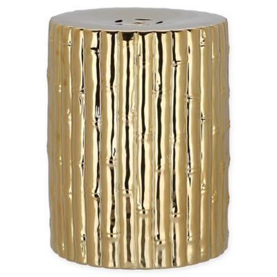Safavieh Bamboo Style Ceramic Garden Stool In Gold