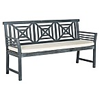 Safavieh Del Mar Indoor/Outdoor 3-Seat Bench in Grey/Beige