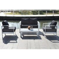 Safavieh Nason 4-Piece Outdoor Living Set in White/Black