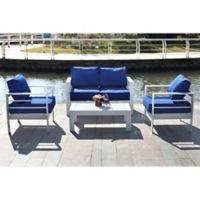 Safavieh Nason 4-Piece Outdoor Living Set in White/Navy