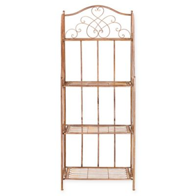 Safavieh Amaris 4-Tier Wrought Iron Outdoor Bakers Rack in Orange