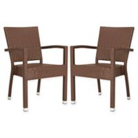 Safavieh Kelda Outdoor Stacking Chair in Brown (Set of 2)