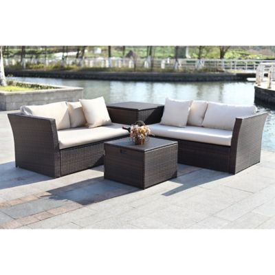 Safavieh Welch 4-Piece Outdoor PE-Wicker Sectional Set with Storage in Brown/  sc 1 st  Bed Bath u0026 Beyond & Buy Outdoor Cushion Storage from Bed Bath u0026 Beyond