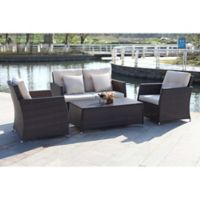 Safavieh Parry 4-Piece Outdoor Living Set in Brown/Beige