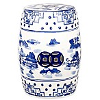 Safavieh Gateless Mist Chinoiserie Garden Stool in Blue
