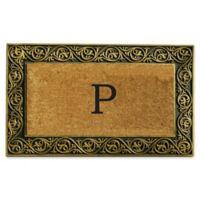 """Home & More Prestige Monogram Letter """"P"""" 18-Inch x 30-Inch Door Mat in Gold"""