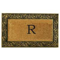 """Home & More Prestige Monogram Letter """"R"""" 18-Inch x 30-Inch Door Mat in Gold"""