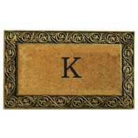"""Home & More Prestige Monogram Letter """"K"""" 18-Inch x 30-Inch Door Mat in Gold"""