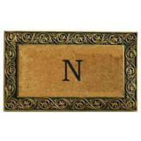 """Home & More Prestige Monogram Letter """"N"""" 18-Inch x 30-Inch Door Mat in Gold"""