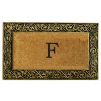 """Home & More Prestige Monogram Letter """"F"""" 18-Inch x 30-Inch Door Mat in Gold"""