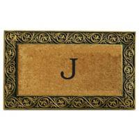 """Home & More Prestige Monogram Letter """"J"""" 18-Inch x 30-Inch Door Mat in Gold"""