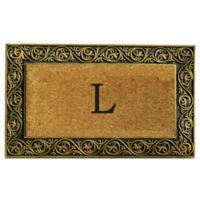 """Home & More Prestige Monogram Letter """"L"""" 18-Inch x 30-Inch Door Mat in Gold"""