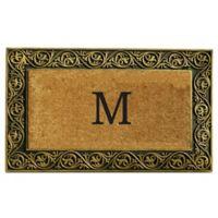 """Home & More Prestige Monogram Letter """"M"""" 18-Inch x 30-Inch Door Mat in Gold"""