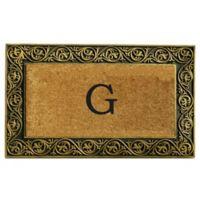 """Home & More Prestige Monogram Letter """"G"""" 18-Inch x 30-Inch Door Mat in Gold"""