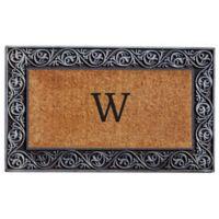"Home & More Prestige Monogram Letter ""W"" 18-Inch x 30-Inch Door Mat in Silver"