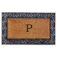 """Home & More Prestige Monogram Letter """"P"""" 18-Inch x 30-Inch Door Mat in Silver"""