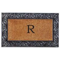 "Home & More Prestige Monogram Letter ""R"" 18-Inch x 30-Inch Door Mat in Silver"