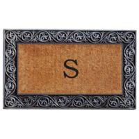 """Home & More Prestige Monogram Letter """"S"""" 18-Inch x 30-Inch Door Mat in Silver"""