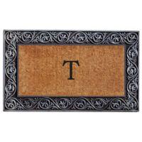 """Home & More Prestige Monogram Letter """"T"""" 18-Inch x 30-Inch Door Mat in Silver"""