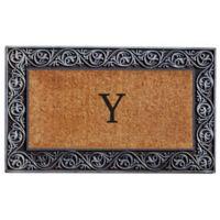 """Home & More Prestige Monogram Letter """"Y"""" 18-Inch x 30-Inch Door Mat in Silver"""