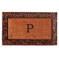 """Home & More Prestige Monogram Letter """"P"""" 18-Inch x 30-Inch Door Mat in Bronze"""