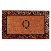 """Home & More Prestige Monogram Letter """"Q"""" 18-Inch x 30-Inch Door Mat in Bronze"""