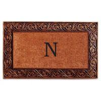 """Home & More Prestige Monogram Letter """"N"""" 18-Inch x 30-Inch Door Mat in Bronze"""
