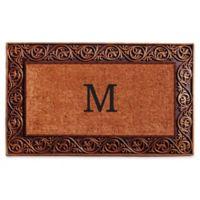 """Home & More Prestige Monogram Letter """"M"""" 18-Inch x 30-Inch Door Mat in Bronze"""