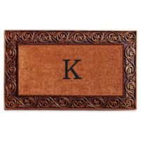 """Home & More Prestige Monogram Letter """"K"""" 18-Inch x 30-Inch Door Mat in Bronze"""