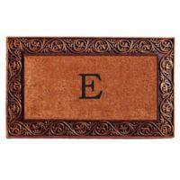 """Home & More Prestige Monogram Letter """"E"""" 18-Inch x 30-Inch Door Mat in Bronze"""