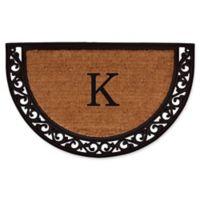 "Home & More Ornate Scroll Monogram Letter ""K"" 18-Inch x 30-Inch Slice Door Mat"