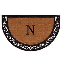 "Home & More Ornate Scroll Monogram Letter ""N"" 24-Inch x 36-Inch Slice Door Mat"