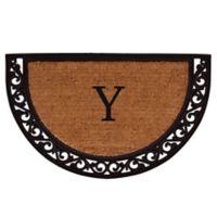 "Home & More Ornate Scroll Monogram Letter ""Y"" 24-Inch x 36-Inch Slice Door Mat"