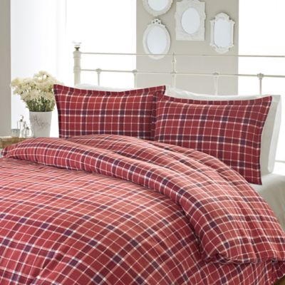 Laura Ashley Highland King Flannel Duvet Cover Set In Red