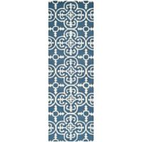 Safavieh Cambridge 2-Foot 6-Inch x 20-Foot Ava Wool Rug in Navy /Ivory